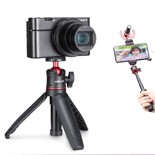 Ulanzi MT-08 DSLR SLR Phone Vlog Tripod Cold Shoe Phone Mount Holder for Microphone LED Light Mini Tripod for Sony A6400 A6300