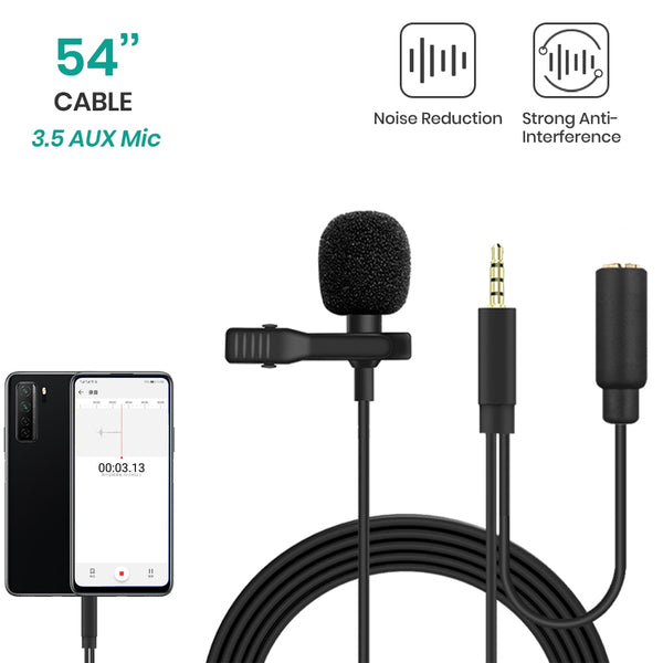 Lavalier Lapel Microphone with Monitoring Audio Jack