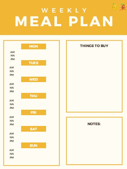 Free weekly meal planner from Go Bites