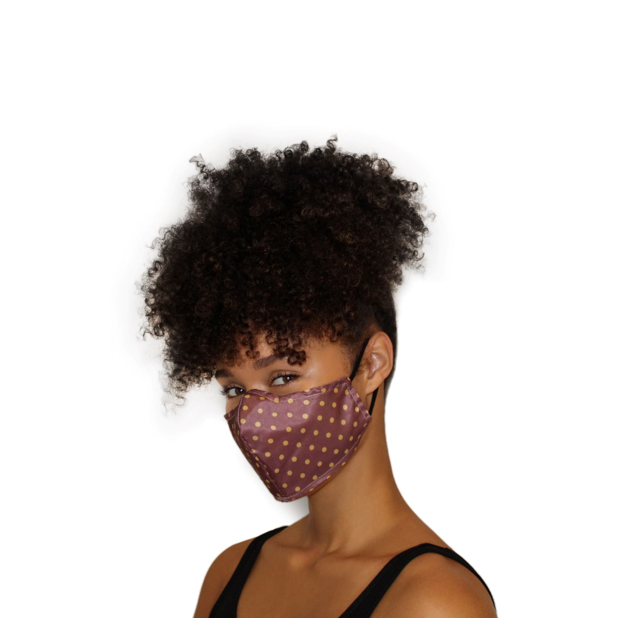 Reversible Face Mask - Mauve/Gold Polka Dot