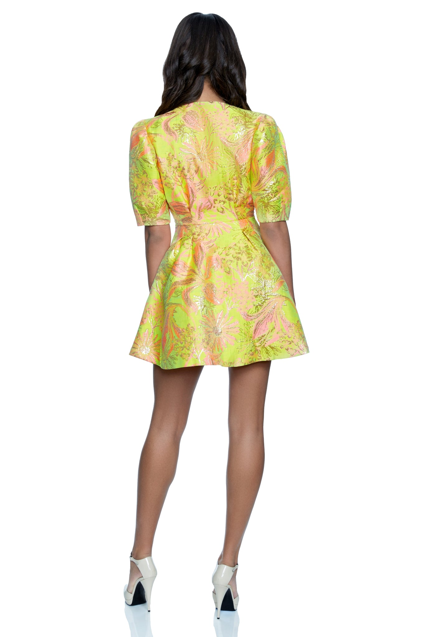 Whitney Puff Sleeve Fit & Flare Jacquard Dress