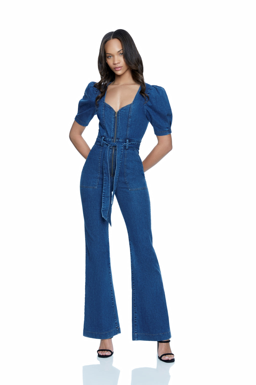 Nikki Denim Flare Leg Jumpsuit