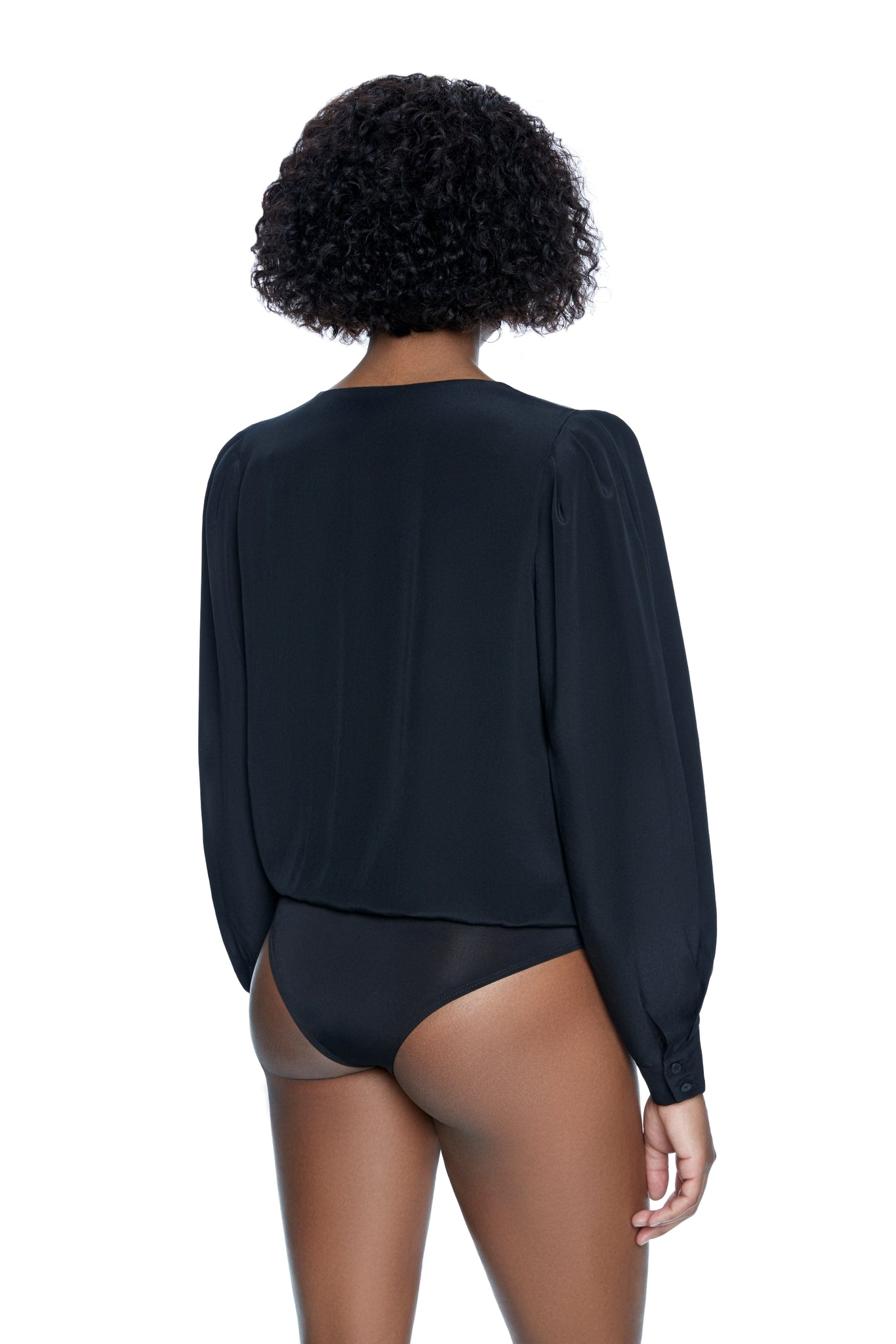 Eva Wrap Blouse Bodysuit - Black