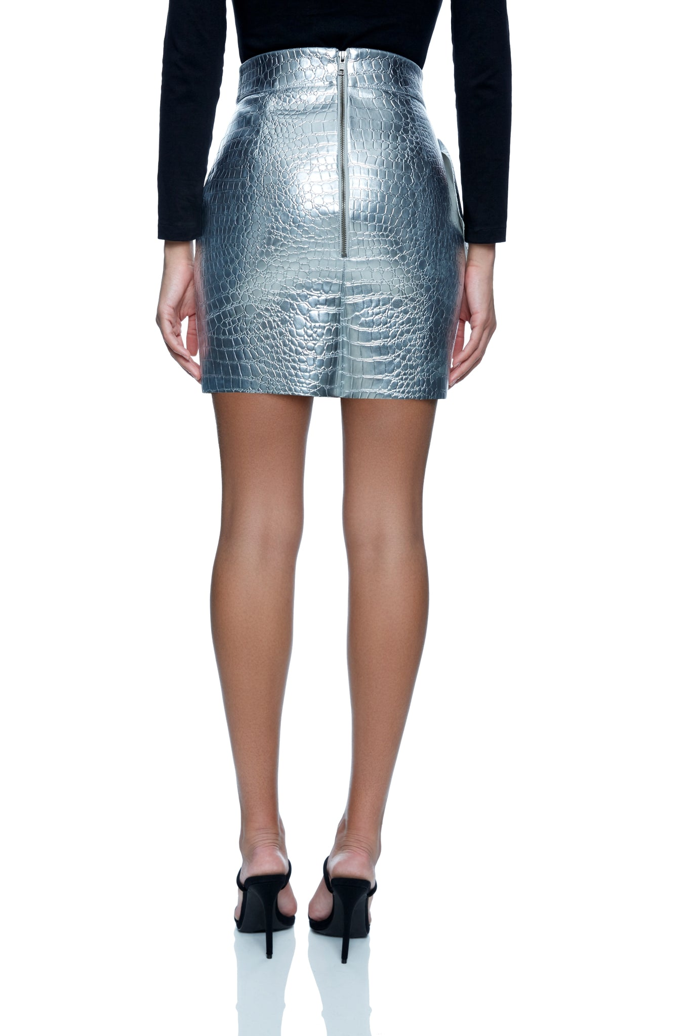 Corina Croc Embossed Faux Leather Skirt