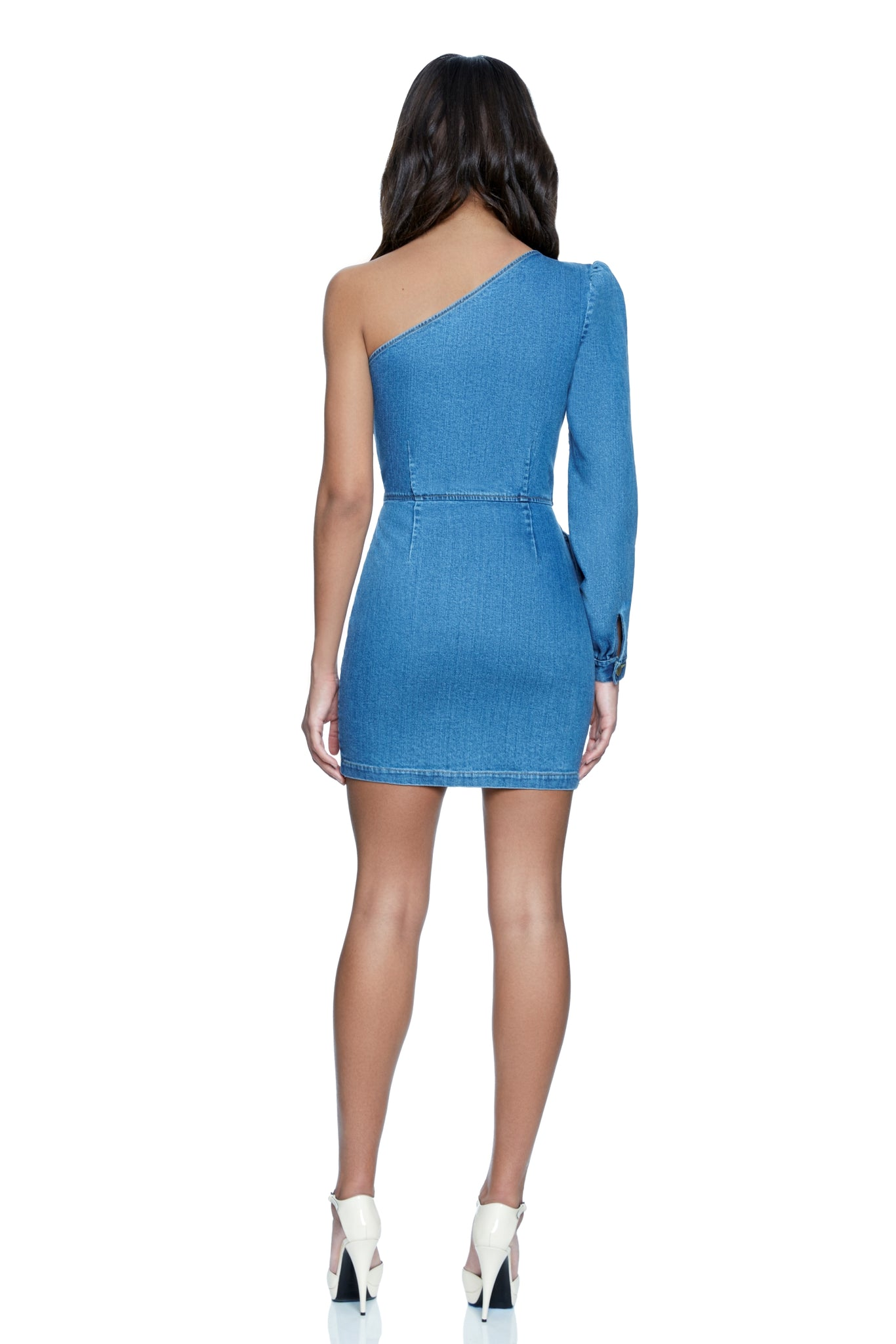 Maya Denim One-Shoulder Dress