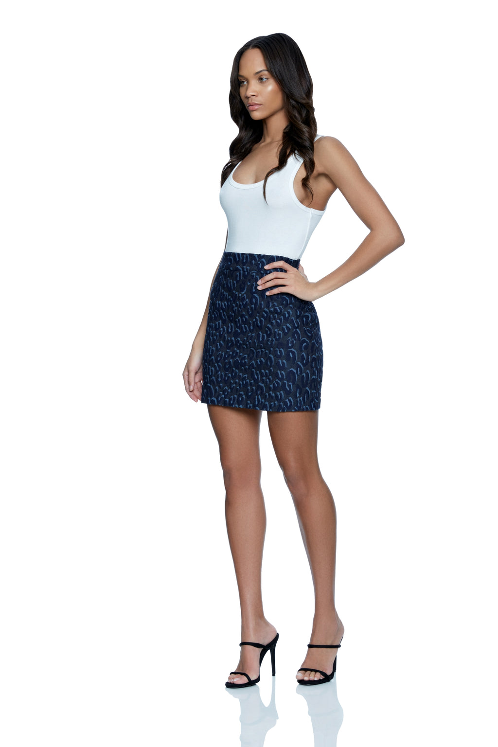 Cyndi High Waist Cheetah Denim Skirt