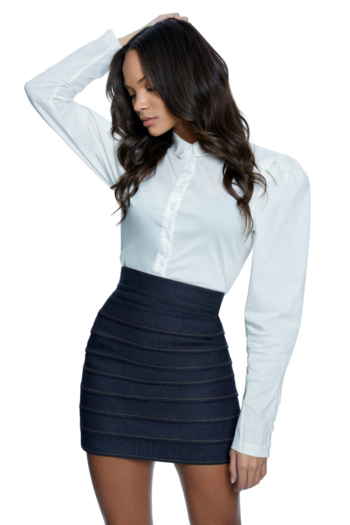 Tina Denim High Waist Pleated Skirt