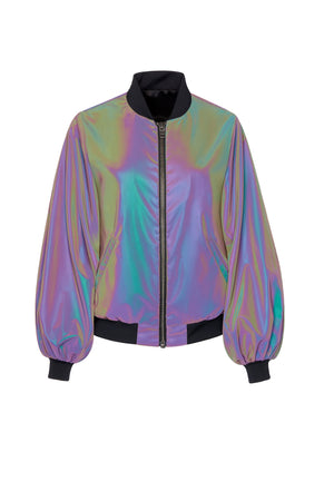 Reflective Puff Sleeve Bomber Jacket