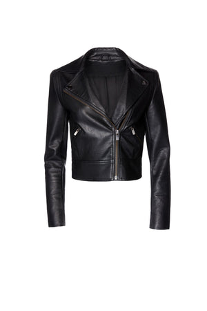 Vegan Leather Jacket - Black