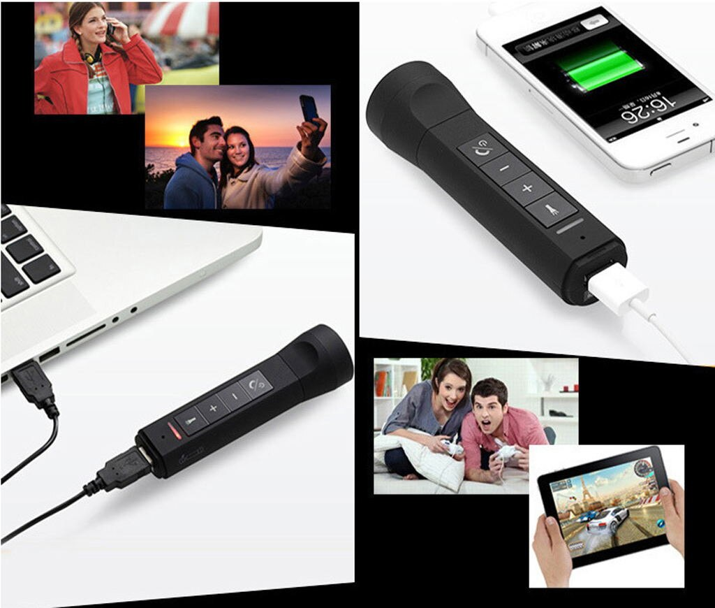 Bluetooth Speaker Flashlight FM Radio Power Bank All in One