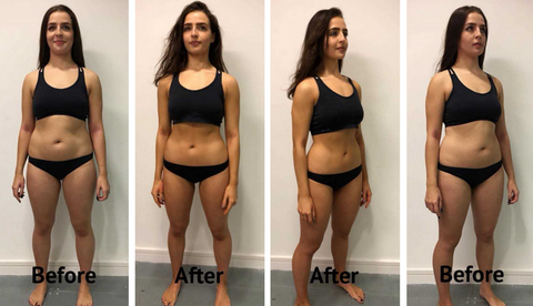 woman's before and after picture results from celebrity detox cleansing tea