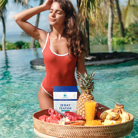 woman in the pool holding a basket of fruit and Celebrity Detox Tea