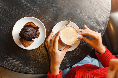 coffee and muffin on a table