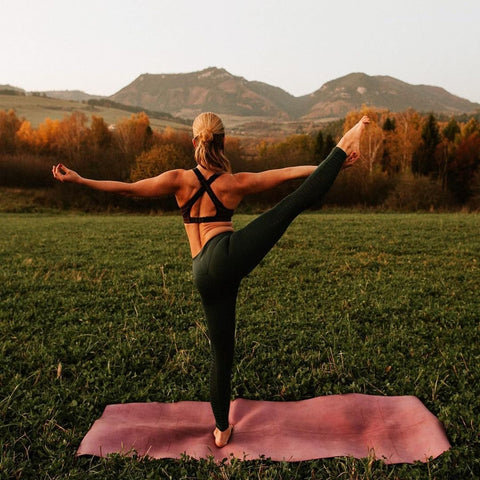 blonde doing amazing yoga pose