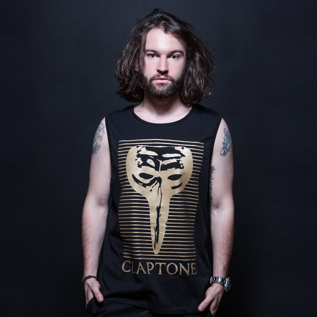 Block Mask Gold Tank - Black