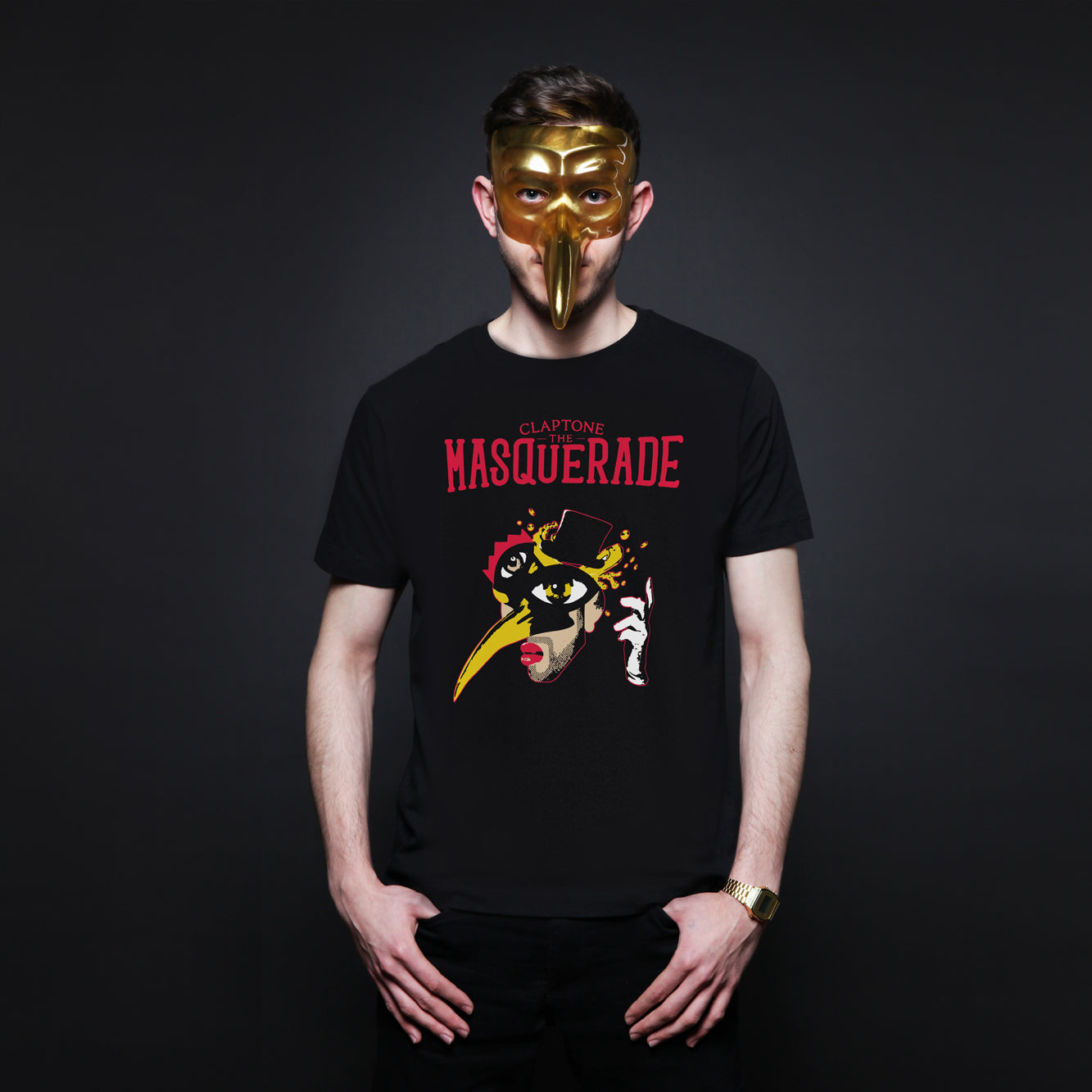 CLAPTONE T-Shirt: The Masquerade Black - Men's