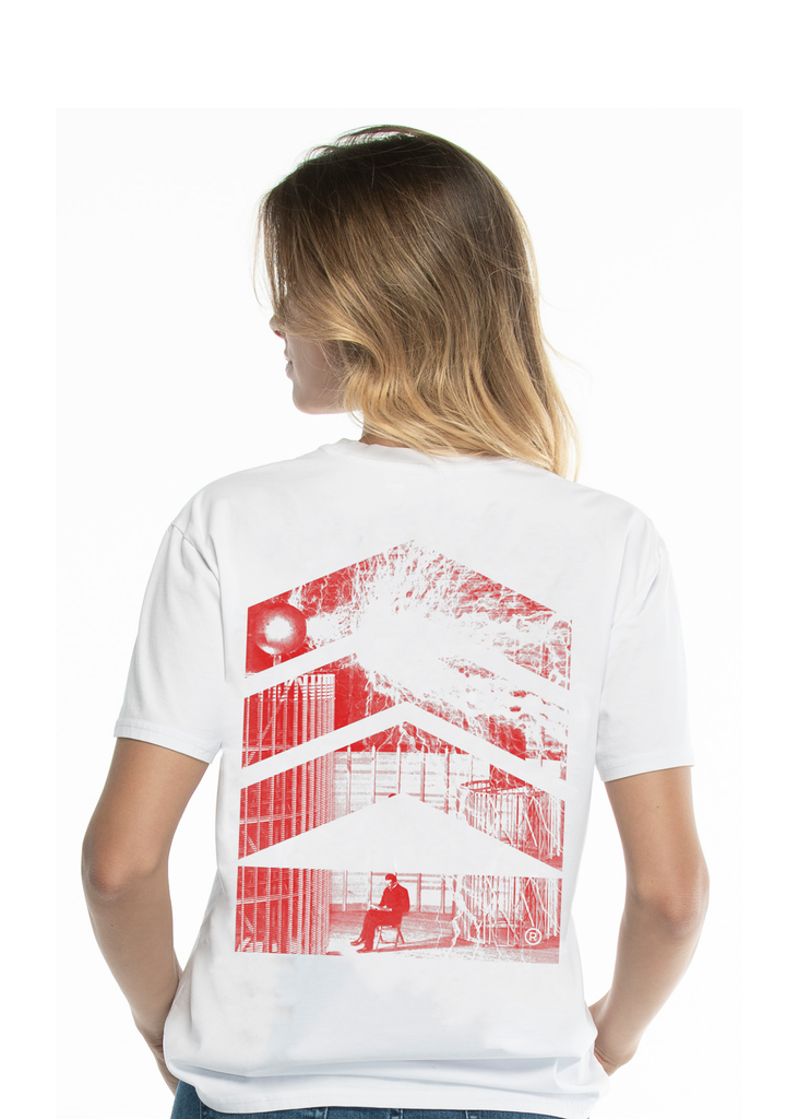 Nikola Tesla Woman's, Electricity Red Logo White T-shirt - Limited Edition