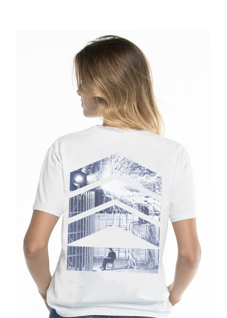 Nikola Tesla Woman's, Electricity Blue Logo White T-shirt - Limited Edition