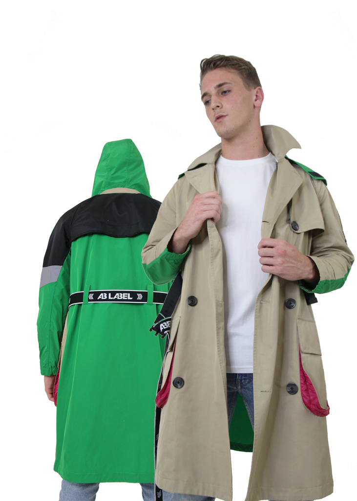 Essentials Trench Coat Men's Collection  - Beige & Green