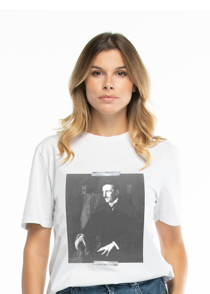Nikola Tesla Portrait Women's, White t-shirt - Limited Edition