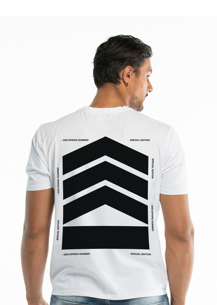Essentials Men's black logo, stretch-cotton T-shirt - White