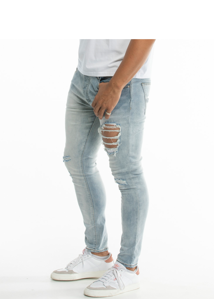 Essentials Men's light blue ripped denim pants