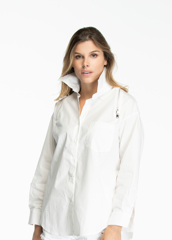 Luxury Shirt with silver zipper across shoulders - White