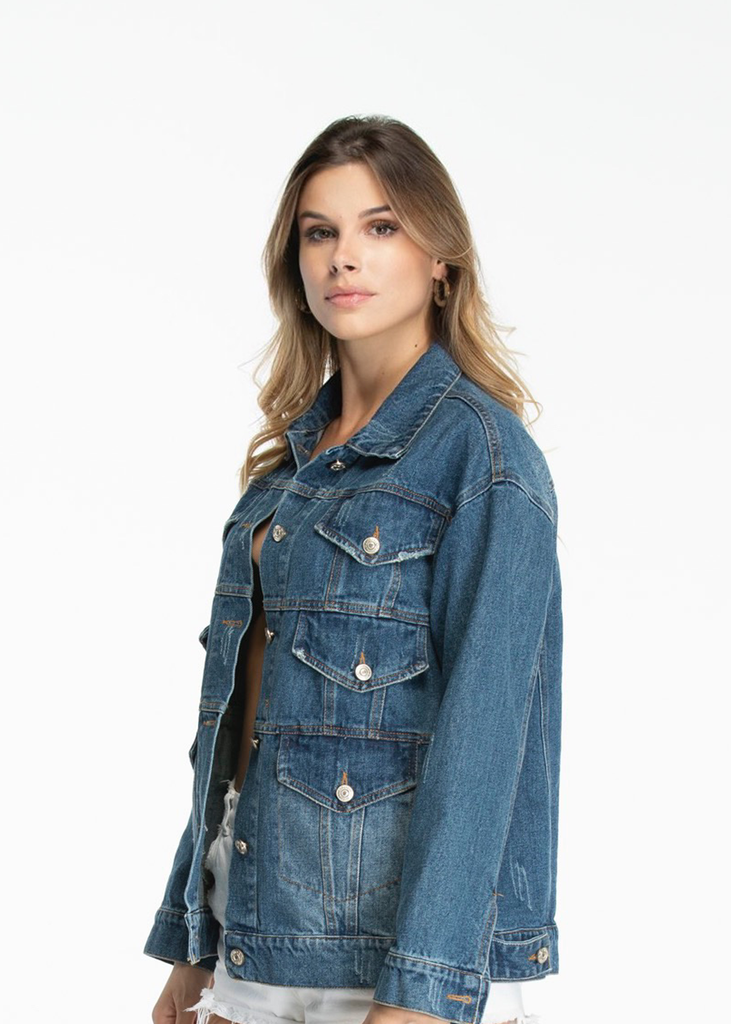 Essentials Six 6 Pocket Denim Jacket - Blue