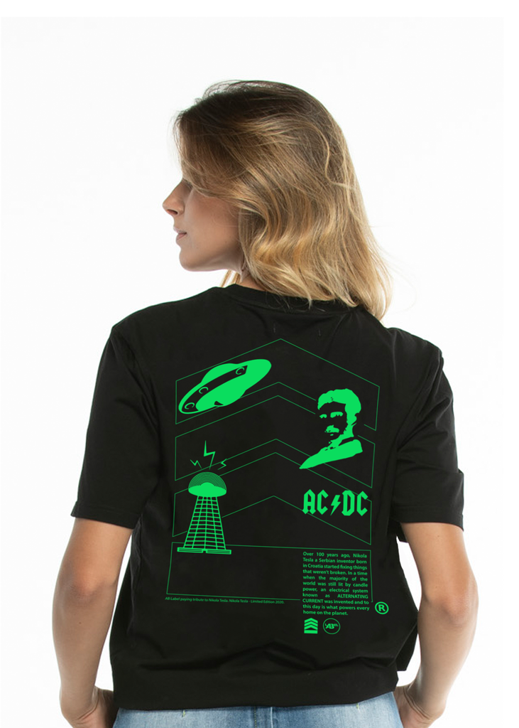 "Nikola Tesla Women's ""Inventions"" Black t-shirt - Limited Edition"