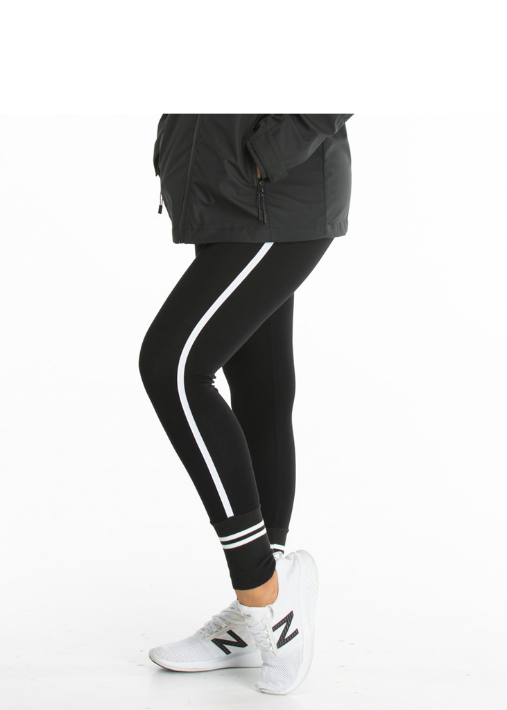 Essentials Women's Black leggings, white stripe