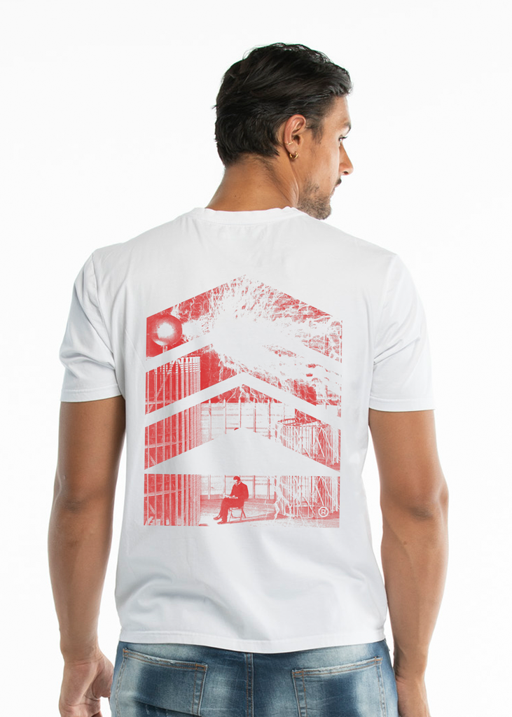 Nikola Tesla Men's, Electricity Red Logo White T-shirt - Limited Edition