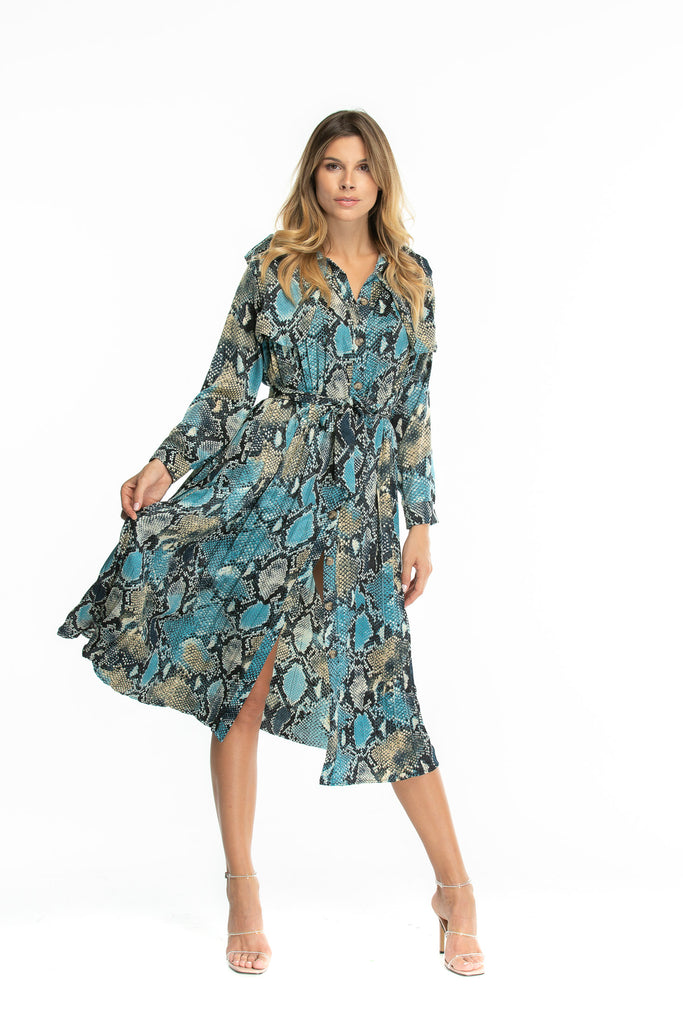 Luxury Trench Dress in snake print - Blue and black