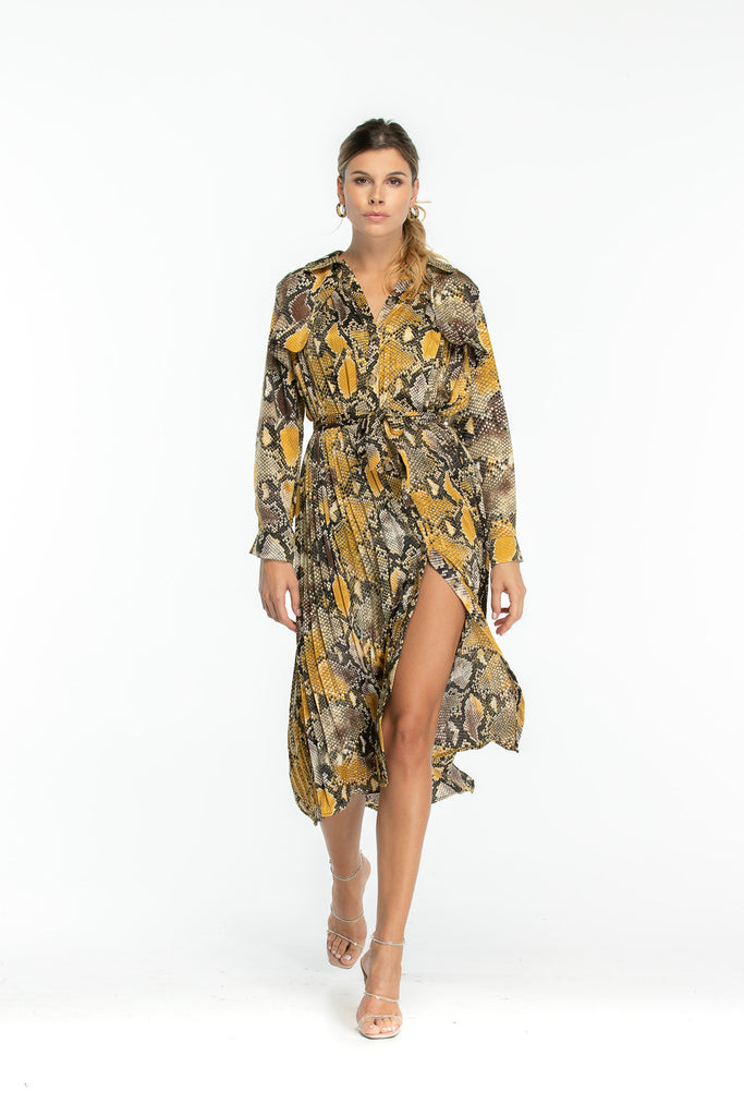 Luxury Trench Dress in Snake print  - Yellow Brown