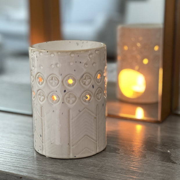Mia Tui Geometric & Cross Stoneware Wax/Oil Burner