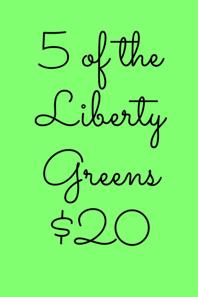 5 Pack Liberty Notecards in Green