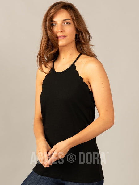 Agnes & Dora™ Scalloped Tank Black