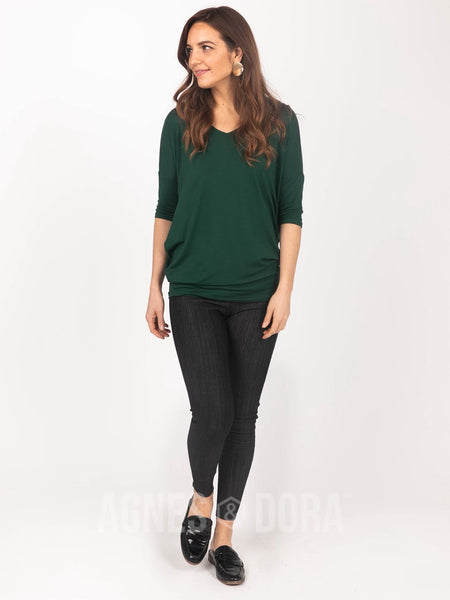 Agnes & Dora™ Dolman Tunic V-Neck Hunter Green