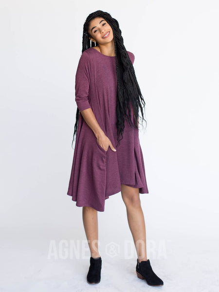 Agnes & Dora™ Sway Dress 3/4 Sleeve French Terry Oxblood
