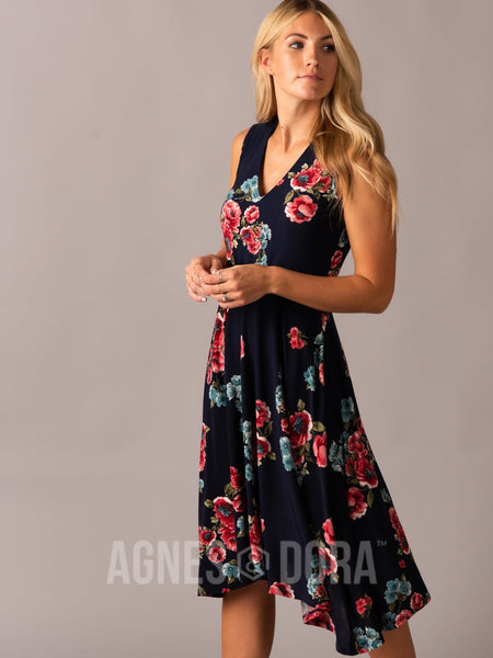 Agnes & Dora™ Handkerchief Midi Dress Sleeveless Coral Floral