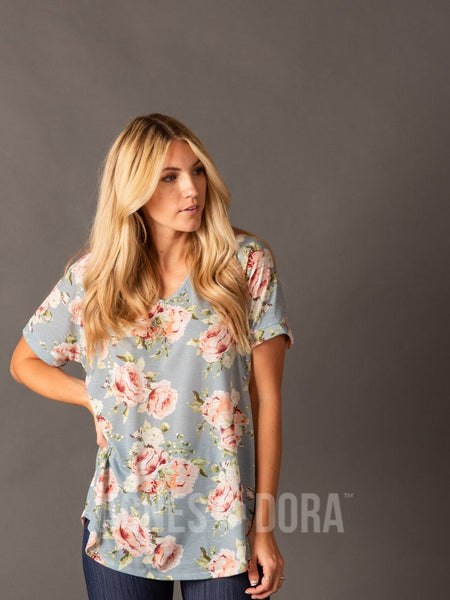 Agnes & Dora™ Love Top Chambray/Peach Floral