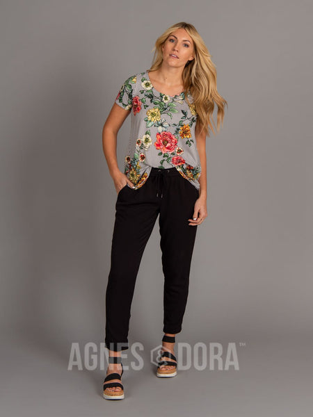 Agnes & Dora™ Everyday Tee - Scoop Neck Black/White Striped Floral