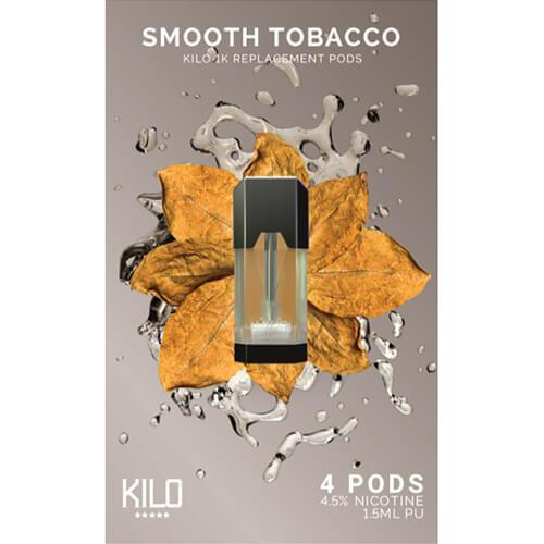 Kilo eLiquids 1K Vaporizer Device Refill Pods - Smooth Tobacco(4 Pack)