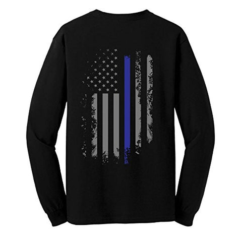 GunShowTees Men's Back The Blue/USA Flag Police Lives Matter Long Sleeve T-Shirt