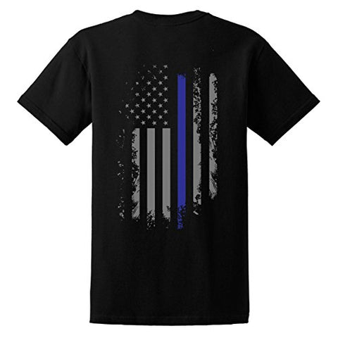 GunShowTees Men's Back The Blue/Thin Blue Line America Flag Police Lives Matter Shirt