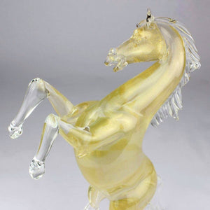 HORSE STANDING -  Murano Glass Horse sculpture with pure Gold - Murano Glass