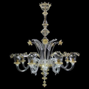 ELEGANTE - Luxurious Crystal Chandelier with 6 lamps - Murano glass - Murano Glass