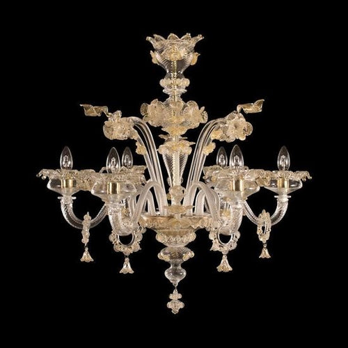 GIANCITO - Crystal and Gold Murano glass chandelier - 6 lights - Murano Glass