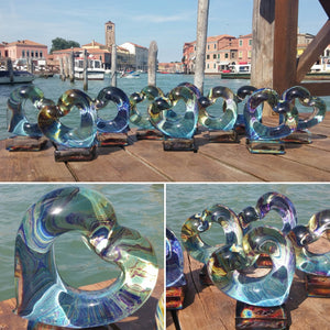 HEART - Murano glass Sculpture in chalcedony - Murano Glass