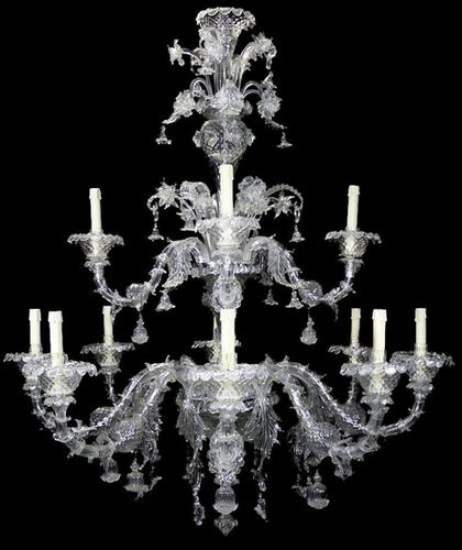 REZZONICO -  Luxurious Crystal Chandelier with dual stages 8+4 lights - Murano glass - Murano Glass