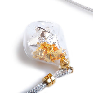 NECKLACE ARIELLE silver gold leaf Murano glass necklace - Murano Glass